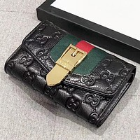 GUCCI Fashion new more letter leather wallet handbag purse Black