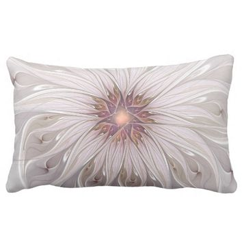 Floral Fantasy Abstract Fractal Art Throw Pillow