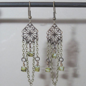 Dangle Earrings   Brass with cube green river stone beads and chain