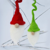 Santa Elves Ornament or Wine Bottle Topper--- Needle Felted Set of Two toppers or christmas ornaments. Red and green hats