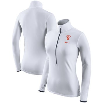 Syracuse Orange Nike Women's Pro HyperWarm Half-Zip Performance Pullover Jacket - White