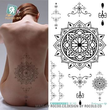 Waterproof Temporary Tattoo sticker mandala totem large body art henna chest breast tatto stickers flash tatoo fake tattoos 7