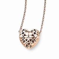 Stainless Steel Polished Pink Heart Necklace