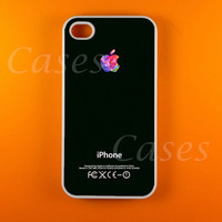 Iphone 4s Case - Colorful Logo on Black Iphone 4 Case