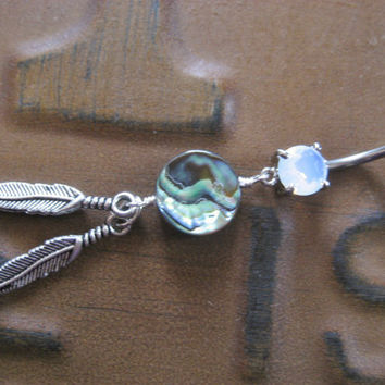 Belly Button Jewelry- Opal Abalone Mother of Pearl Double Feather Dream Catcher Navel Ring Piercing