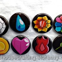 Indigo Pokemon badges 1.25 inch pinback buttons/magnets from Little House of Crafting