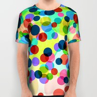 Happy Rainbow Confetti All Over Print Shirt by Miss L In Art