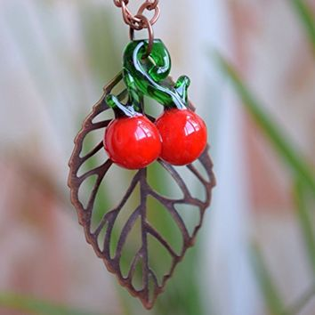 Cherry necklace Copper leaf jewelry Lampwork glass bead necklace Fruit pendant Red berry necklace Fall jewelry Autumn necklace Cherry beads Lampwork bead jewelry Charm necklace Womens gift