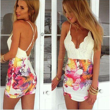 Lace Fashion Sexy Summer Stylish Backless One Piece Dress = 5826475073