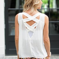 Cream Tank- Tank With Woven Back Design- $45.00 | Hand In Pocket Boutique