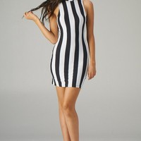 Black and White Striped Fitted Dress with Keyhole Back