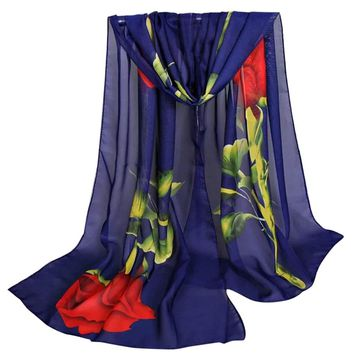 Leedford Unique Women's Floral Scarves: Chiffon Rose Printed Scarf Long Soft Wrap Scarf