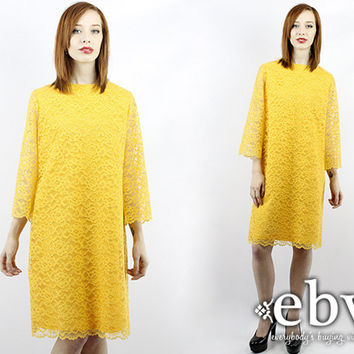 Vintage 70s Marigold Lace Bell Sleeve Party Dress L XL Vintage Lace Dress Bell Sleeve Dress Mini Dress Mustard Dress Yellow Dress