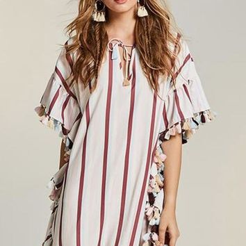 Georgia Boho Stripe Tassel Dress
