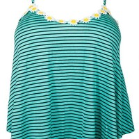eVogues Plus Size Striped Sunflower Cropped Cami Top Teal