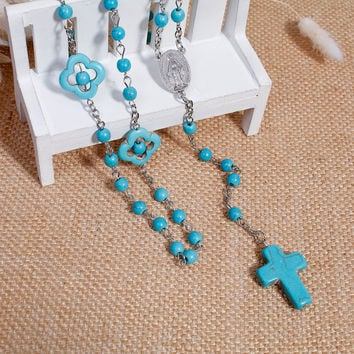 DoreenBeads 2017 New Women Bohemia Necklaces Y Shaped Imitation Turquoise Prayer Rosary Beads Jesus Pattern Cross Pendant 57cm