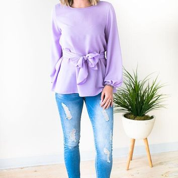 Made to Flatter You Tie Waist Blouse - Lilac