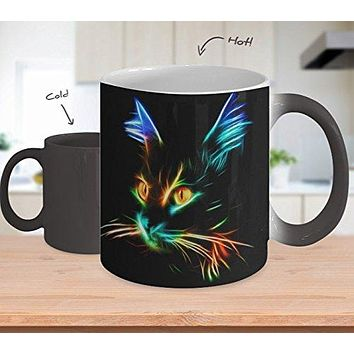 Color Changing Cat Mug / Coffee Cup - Neon