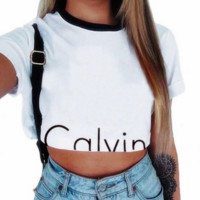 """Calvin Klein""Fashion Round neck White Top T-Shirt"