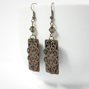 Antique Gold and Brown Swarovski Filigree Dangle Earrings - Long Rectangle Earrings - Boho Victorian Style - Ready to Ship