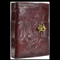 Double Dragon Genuine Leather Blank Journal with Latch