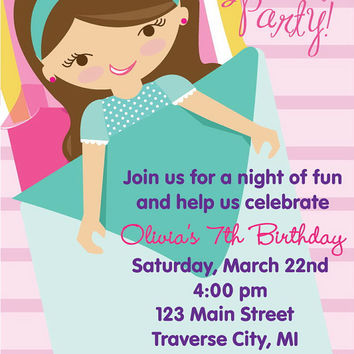 Slumber Party Birthday Invitations -  Pajama Party Kids Birthday Invitations Sleep Over Printables