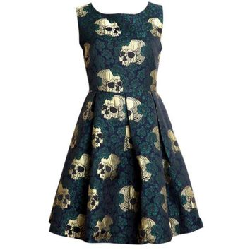 Skull Roses Rockabilly Vintage Retro Dress