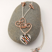 Wire Wrapped Copper Heart Necklace by MiscellaneaEtcetera on Etsy