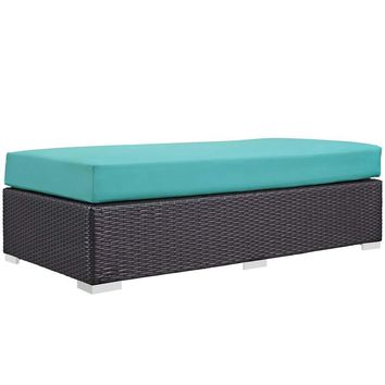 Turquoise Convene Outdoor Patio Fabric Rectangle Ottoman