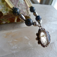 Rutilated Quartz Pendant - Honeycomb Calcite and Blue Pietersite Artisan Silver Necklace
