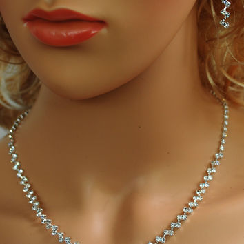 """Bridal Wedding Prom Pageant Crystal Necklace and Earring Set, 18"""" with Adjustable Chain N1X56"""