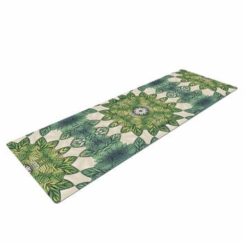 "Art Love Passion ""Forest Leaves Repeat"" Green Teal Geometric Yoga Mat"