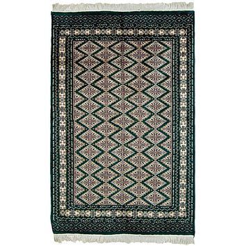 Oriental Kashmir Pakistani Wool and Cotton Oriental Rug, Green/Yellow