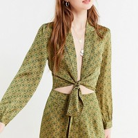 UO Satin Paisley Tie-Front Top | Urban Outfitters