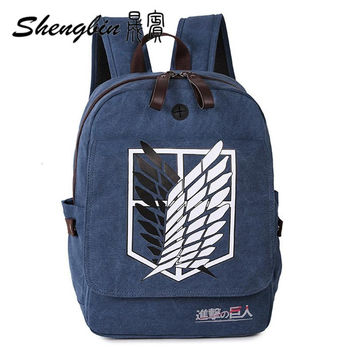 Japanese Anime Shingeki no Kyojin Attack on Titan Cosplay Canvas Backpack Schoolbag Shoulder Bag Knapsack Military Package