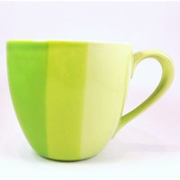 Green Striped Ombre Starbucks Coffee Mug Cup 2005 10oz Variegated k354