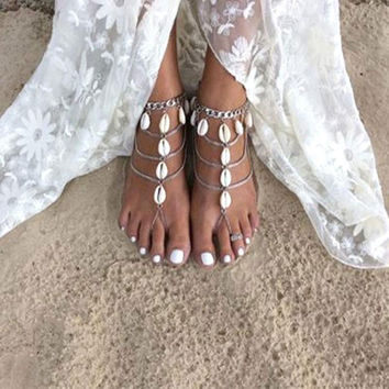 Shell Barefoot Sandals Natural Cowrie Shells Silver Chain Sea Shell Beach Anklets Toe Rings