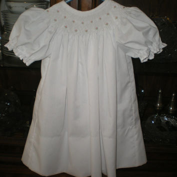 Smocked baby dress,  infant, toddler, white, bishop