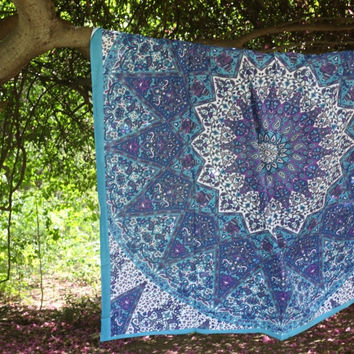 BEAUTIFUL BLUE STAR ELEPHANT MANDALA TAPESTRY BOHEMIAN BEDSPREAD WALL HANGING