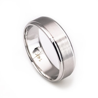 14k white gold 6mm comfort fit men's wedding band matte finish