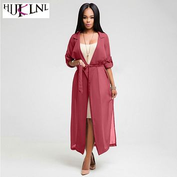 HIJKLNL Fashion Trench Coat Womens Spring Coat 2017 Autumn Chiffon Trench Cardigan Female Notch Neck Coat long duster coat NA010