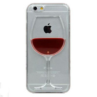 Red Wine Glass Phone Case Cover Apple iPhone 4 4S 5C 5 5S 6 6S 6 Plus All Models Transparent Phone Cases Back Covers