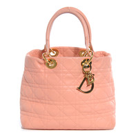 CHRISTIAN DIOR Cannage Quilted Soft Lady Dior Tote Pink