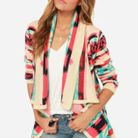 Southwest-ing Game Aqua Blue Print Cardigan Sweater