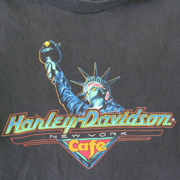 Harley Davidson Cafe T Shirt New York City Harley Davidson Shirt Men Sz M Genuine Harley Clothing Statue of Liberty Vintage Motorcycle Shirt
