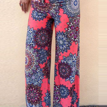 Red Lexe Geo Patterned Palazzo Pants