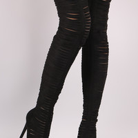 Strappy Peep Toe Stiletto Over The Knee Boots