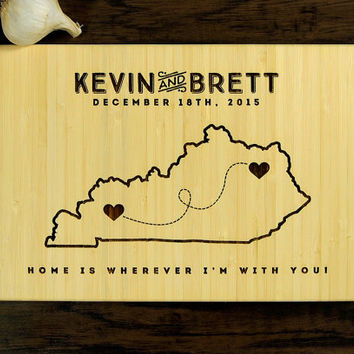 Personalized Cutting Board, Custom Wedding Gift, Anniversary Gift, Housewarming Gift, Kentucky State Engraving With Heart, State Map Hearts
