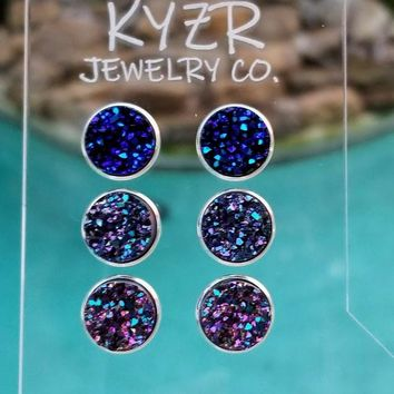 Druzy earring set-Metallic Navy/ Purple and Metallic rainbow drusy stud set