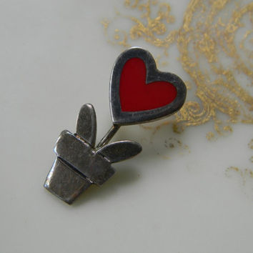 ViNTaGe HEART FLoWeR PoT BROOCH PIN STeRLiNG SiLVeR 925 ReD